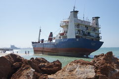 Grounded Cargo Ship Accident Stock Image