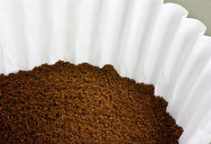 Grounded Coffee In A Coffee Filter Royalty Free Stock Photography