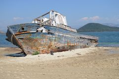 Shipwreck. Grounded in Greece Royalty Free Stock Image