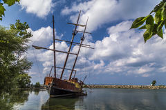 Grounded. Jordan Harbour shipwreck on a warm sunny day Stock Image