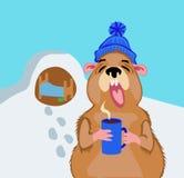 Groundhog con una taza de café el 2 de febrero Foto de archivo