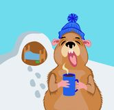 Groundhog with a cup of coffee on February 2. Groundhog Day 2 February. A comic illustration with a marmot and a cup of coffee royalty free illustration