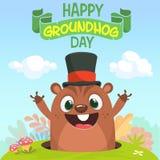 Groundhog da marmota dos desenhos animados no chapéu principal Ilustração do vetor Dia de Groundhog Cartaz ou cartão do convite d Imagens de Stock