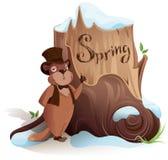 Groundhog dag Murmeldjuret meddelar tidig ankomst av våren royaltyfri illustrationer