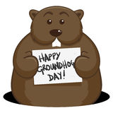 Groundhog Day. An illustration of a cute groundhog holding a sign with the text Happy Groundhog Day Royalty Free Stock Image