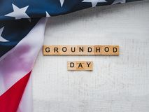 Groundhog Day Background. Close-up, top view, isolated. Congratulations for friends, loved ones, relatives and colleagues stock image