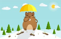 Groundhog Day. Beginning of the festive festival. Marmot with umbrella Royalty Free Stock Image