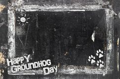 Chalkboard Groundhog Day royalty free stock photos
