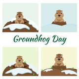 Groundhog Day Card Set. Happy Groundhog Day card with cute marmot in different weather Stock Photo
