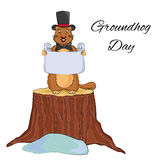Groundhog Day cartoon design. Cute in a hat and bow tie holding scroll. Groundhog Day cartoon design. Cute groundhog in a hat and bow tie holding a scroll Vector Illustration