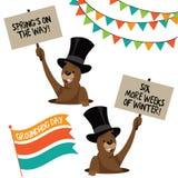 Groundhog Day elements cartoon marmot Stock Image