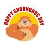 Groundhog day emblem. Groundhog thumbs up and winks. Woodchuck. Happy emoji. Vector illustration Royalty Free Stock Images