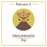 Groundhog Day. February 2. Vector illustration for you design, card, banner, poster and calendar vector illustration