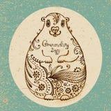 Groundhog Day. Gezeichnete Karte der Weinlese Hand. Lizenzfreie Stockfotografie