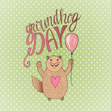 Groundhog Day gift card. Hand drawn beautiful smiling hamster. Vector illustration. Can be used for print, greeting cards or blog Stock Photo