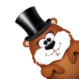 Groundhog Day greeting card with cheerful marmot. Stock Images
