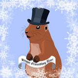 Groundhog day greeting card with cute marmot in black hat on winter background. Stock Images