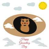 Groundhog Day greeting card funny marmot burrow in. Nvector illustration Royalty Free Stock Image