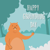 Groundhog Day Happy Animal Waving Paw Greeting Card Royalty Free Stock Photography