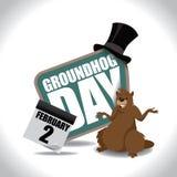 Groundhog Day-Ikone auf Weiß Stockfotografie