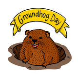 Groundhog day illustration Royalty Free Stock Photo