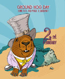 Groundhog day poster in vintage doodle style. 2 February. Stock Image
