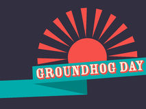 Groundhog Day retro poster with ribbon. Vector vector illustration