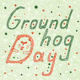 Groundhog Day text with hidden groundhog in D letter . Hand Drawn lettering vector ilustration Royalty Free Stock Image