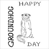 Groundhog day with text. Vector graphic postcard Royalty Free Stock Photo
