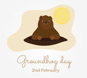 Groundhog day. In USA. Traditional February 2nd celebration. Cute cartoon style vector illustration Stock Photos