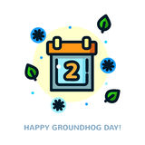 Groundhog day vector illustration. Groundhog day greeting card with calendar, line art vector illustration Royalty Free Illustration