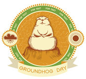 Groundhog day.Vector label Stock Images