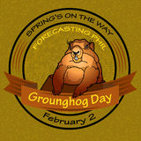 Groundhog Day. Vector Round label. Stock Photos