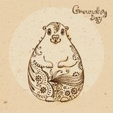 Groundhog Day. Vintage hand drawn card. Royalty Free Stock Photo