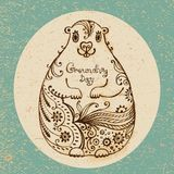 Groundhog Day. Vintage hand drawn card. Royalty Free Stock Photography