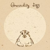 Groundhog Day. Vintage hand drawn card. Stock Image