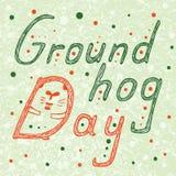Groundhog dnia tekst z chowanym groundhog w d liście Ręka Rysująca piszący list wektorowego ilustration Obraz Royalty Free