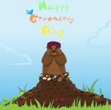 Groundhog Dzień Śmieszny kreskówka koloru charakter świstak po hibernaci również zwrócić corel ilustracji wektora Obrazy Stock