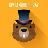 Groundhog en sombrero Plantilla divertida de la tarjeta de la historieta del día de Graundhog Foto de archivo