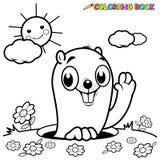 Groundhog för färgläggningbok vektor illustrationer