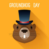 Groundhog in hat. Graundhog day funny cartoon card template. Stock Photo