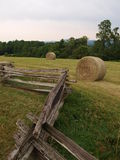 Groundhog Mountain. Split rail fence and hay bales in the meadow at Groundhog Mountain along the Blue Ridge Parkway. (Virginia stock image