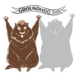 Groundhog and shadow. Symbol of Groundhog day. Cartoon  il Stock Image