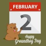 Groundhog som vinkar i framdel av en kalender stock illustrationer