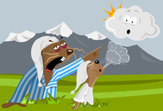 Groundhogs want to sleep. Cartoon style vector illustration image about two groundhogs who want to keep on sleeping. So they want to oust the cloud away Stock Images