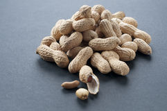 Groundnut. Tasty groundnut with gray background Royalty Free Stock Images