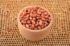 Groundnuts in wooden bowl Royalty Free Stock Images