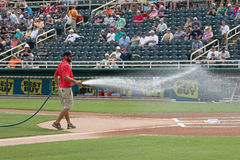 The Grounds Crew Grooming the Infield at Hammond Stadium Royalty Free Stock Photo