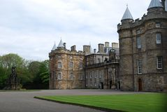 Grounds and entrance of Holyrood Palace, Edinburgh, Scotland stock photo