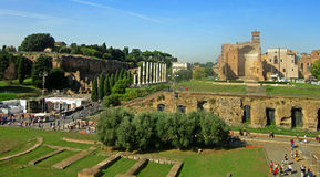 Grounds near the Arch of Constantine. The Arch of Constantine is a triumphal arch in Rome Stock Photography